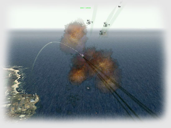 I can tell the missile isn't aimed at me. Indeed, the unfortunate target is one of the F-15C CAP fighters.