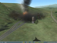 I sight in on the flaming wreck of the rear two-thirds of the parked train...