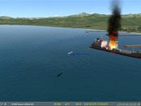 The tanker sinking.