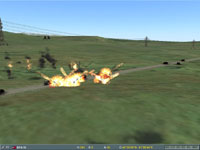 ...the bombs had no effect! The BTR-70 still spits fire at Col. Martin!