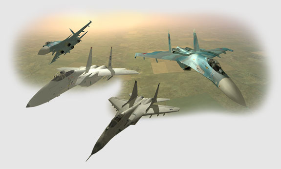 A composite image of the fighters in LOMAC.