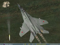 I pull a six-g turn to put my nose into position for a rocket run, ignoring bright yellow tracer from the Shilka gun.
