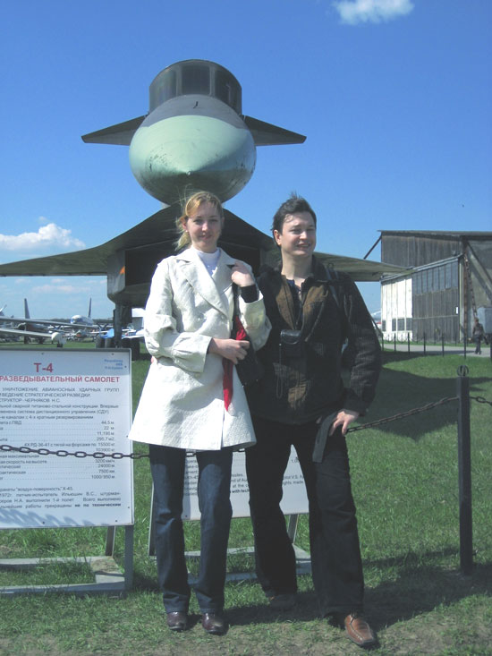 Yury and his girlfriend in front of a Yakovlev supersonic monster in Monino.