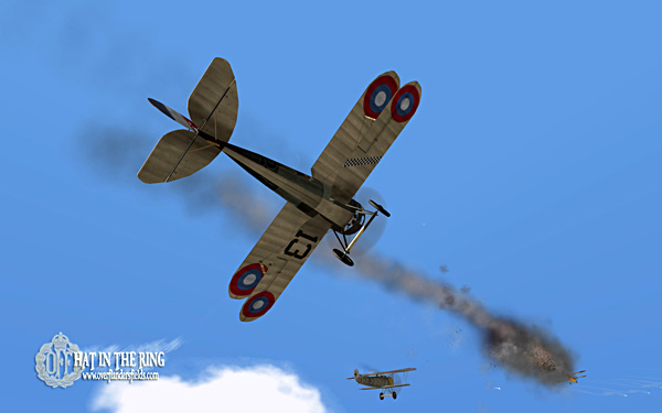 Nieuport 28s in battle with Fokker DVIIs.