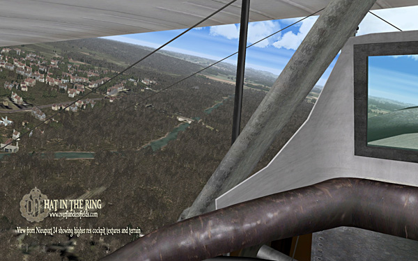 View from a Nieuport 24 showing the higher resolution cockpit textures and terrain.