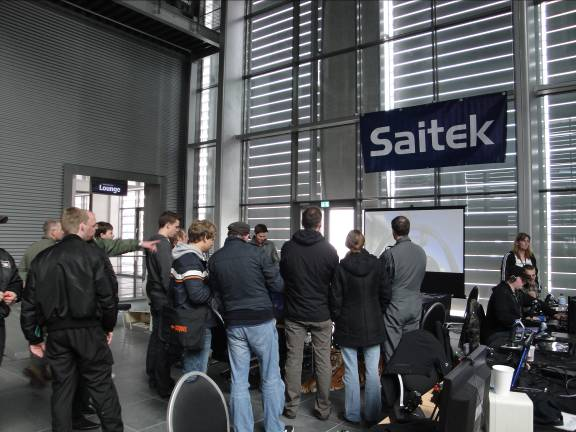 The Saitek demo table gets all the action.