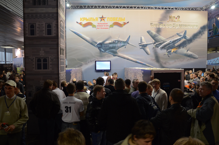 """The left side of the booth was running the IL-2 Sturmovik National Championship, pre-final battles."""