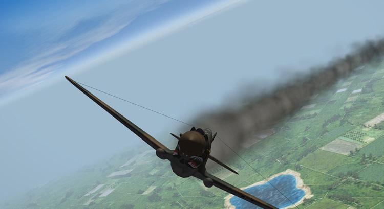 Rising Sun - A damaged P-40.