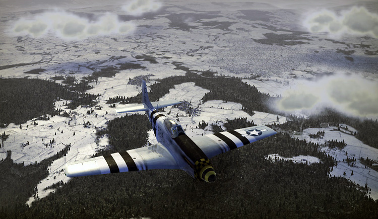 Wings of Prey: Collector's Edition - A P-51 Mustang flies over the snowy battlefront