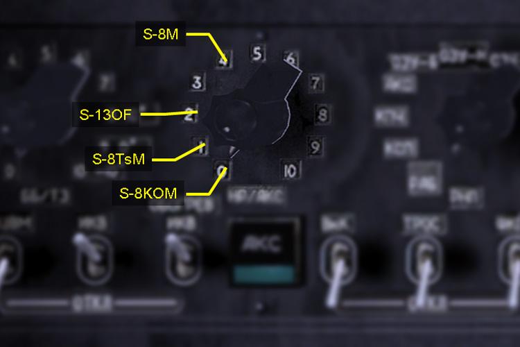 Rocket selector dial on aft panel of the Ka-50.
