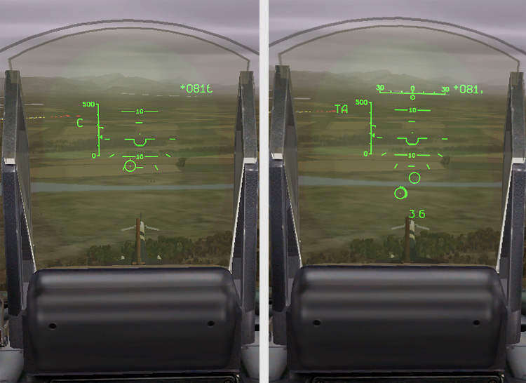 Without laser ranging on the left, with laser ranging on the right.