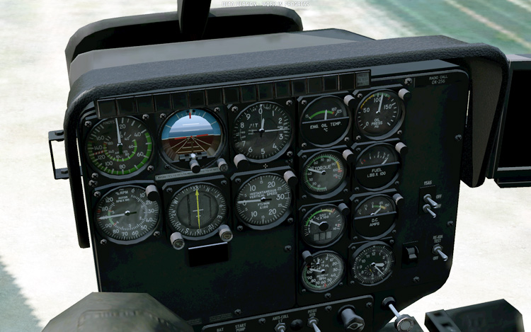 Take On Helicopters. A panel full of working gauges, yes!