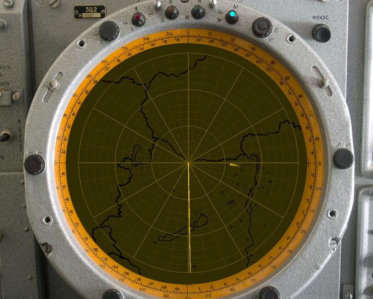 "The screen of a 1S12M ""Long Track"" early-warning radar"