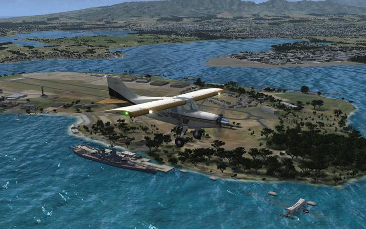 Microsoft Flight - And INLAND Ocean Water...