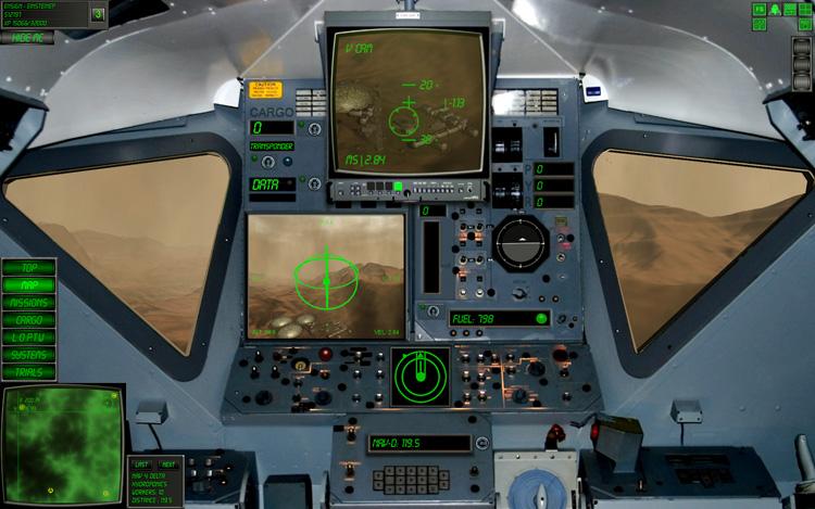 Lunar Flight - Mars: Actual screenshot from my first successful inter-base flight on Mars.