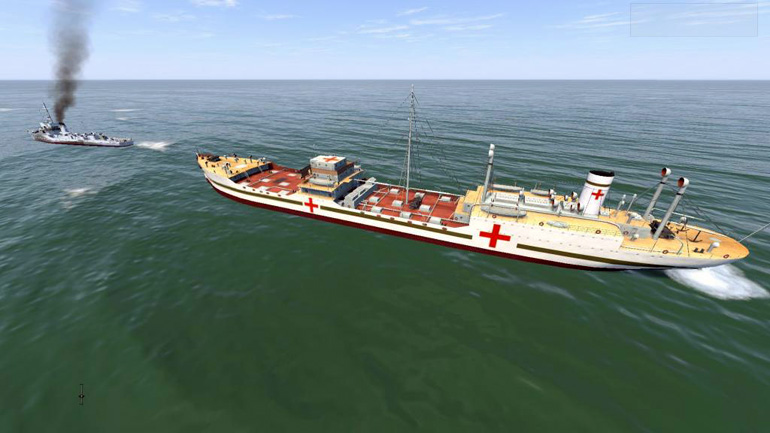 A repurposed freighter becomes a new hospital ship type.