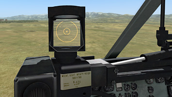 The co-pilot gets the flexible sight to control the mini-gun death rays.
