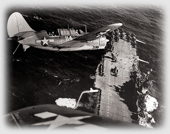 SB2C-3 aircraft over USS Hornet, January 1945