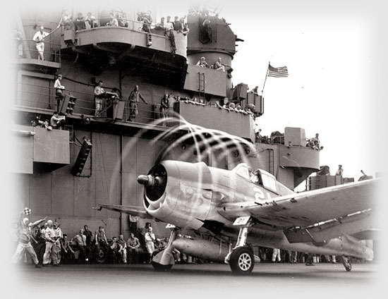 F6F-3 ready to take off from the USS Yorktown, November 1943