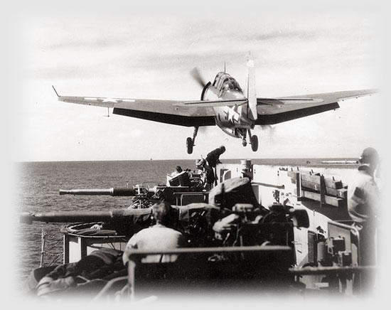 "TBM ""Avenger"" is catapulted from USS Makin Island."