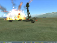 It impacts, destroying the 46M search radar, blinding the missile battery!