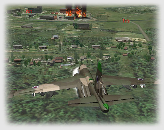 The Georgian flight leader continues the attack with his wingman, strafing the fuel storage bins!