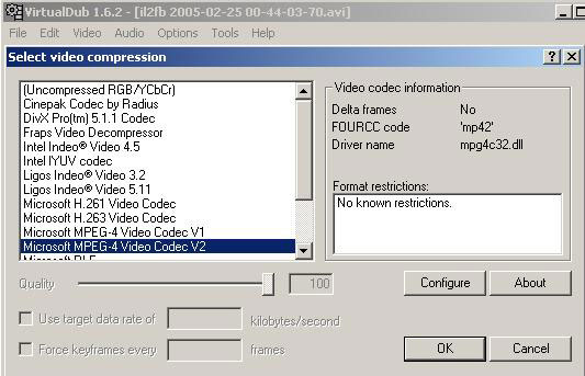 "Select ""Microsoft MPEG-4 Video Codec V2"""