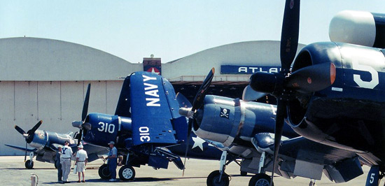 Four of the five participating Corsairs.  From left to right:  FG-1D, Connecticut-built F4U-4,  FG-1D, and F4U-5NL.