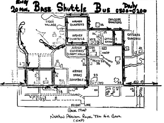 Hand-drawn shuttle bus map.