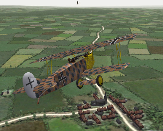 A Fokker turns to catch a victum.