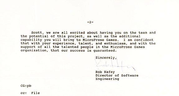My offer letter from MicroProse