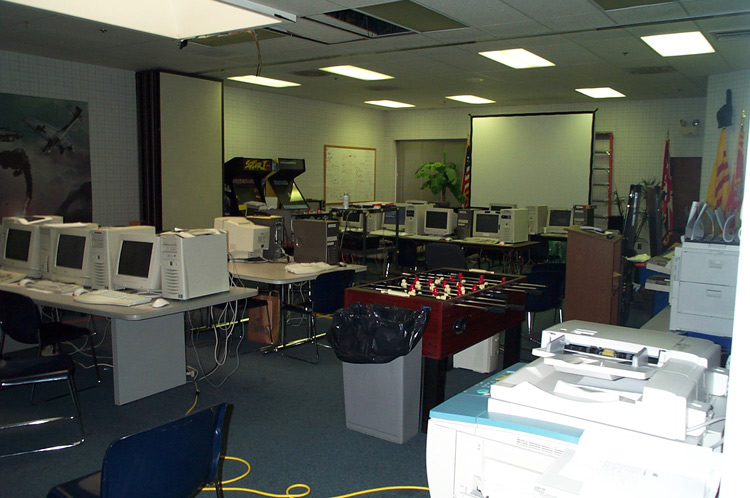 Cafeteria and large meeting area. As mentioned above the picture all the computers are due to an inventory being done as the studio was being shut down.