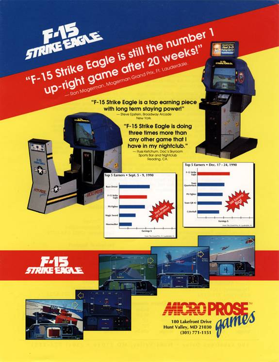 F-15 Strike Eagle Arcade advertisement.