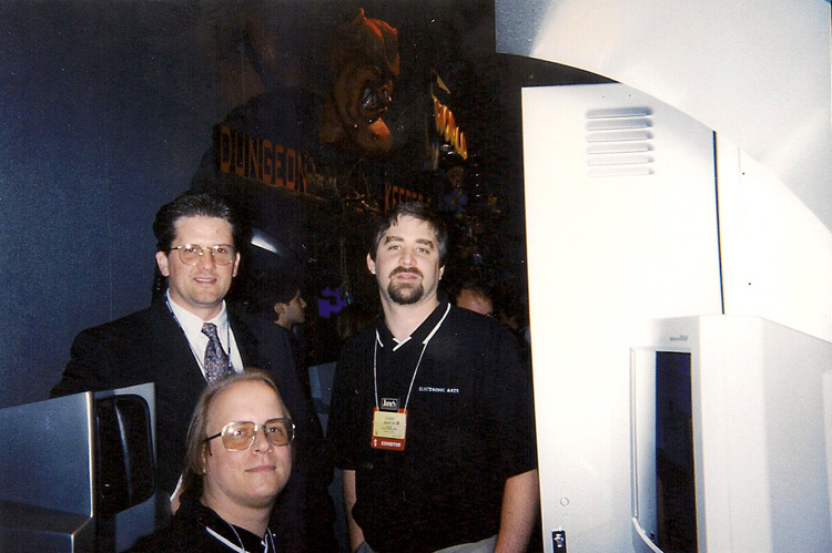 At the E3 demo station. Clockwise from upper left: Greg Kreafle, Chris Martin, and Scott Elson.
