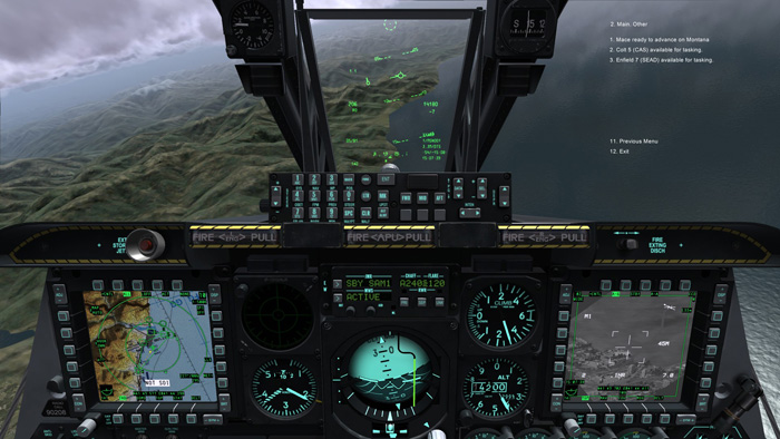Cockpit and radio commands to other AI flights and ground forces.