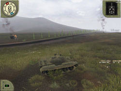 Pavel targets second Sherman-civvy vehicles burning.