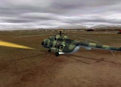 Sacha's helo takes off.