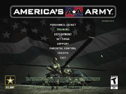 America's Army menu
