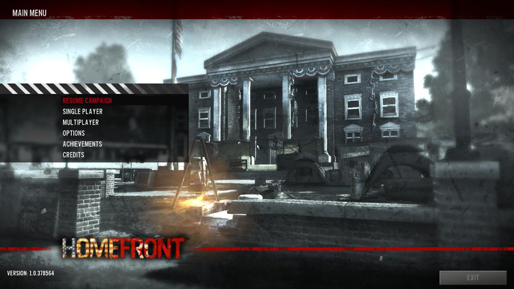 Homefront main menu