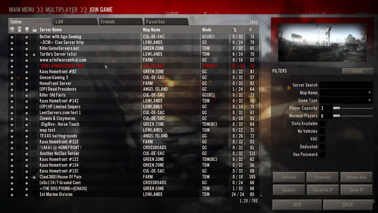 "Homefront multiplayer ""Join Game"" menu"