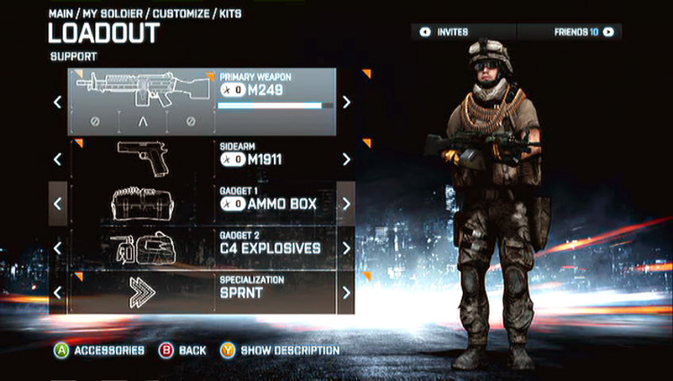 Battlefield 3 - Xbox 360 Loadout for the Support Role