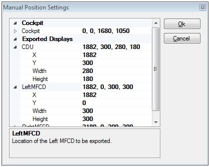 iControl DCS - Either drag and drop to position your ghost MFCDs or manually enter the monitor coordinates.