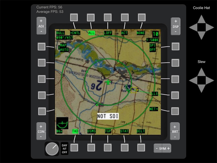 iControl DCS - The Tactical Situation Display zoomed in.