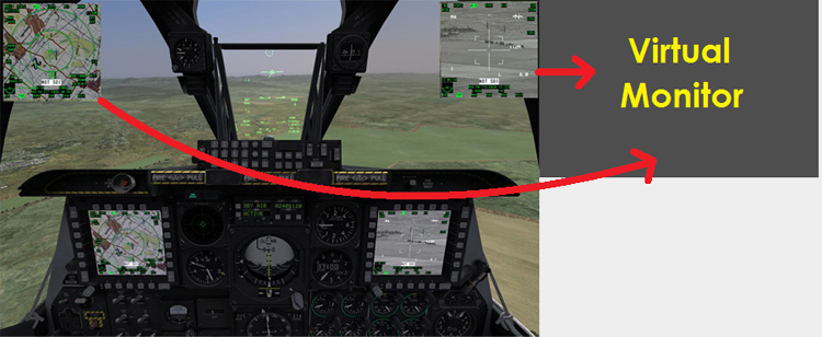iControl DCS - The result is the floating MFCDs are moved onto the virtual screen.