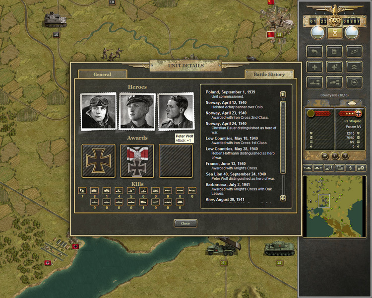 A screenshot from the PC version of Panzer Corps.