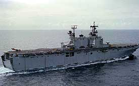 Figure 4 - USS Nassau takes the brunt of the missile strike.