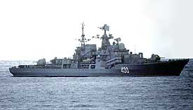 Figure 7 - A Russian destroyer is in trouble but it's not clear why.