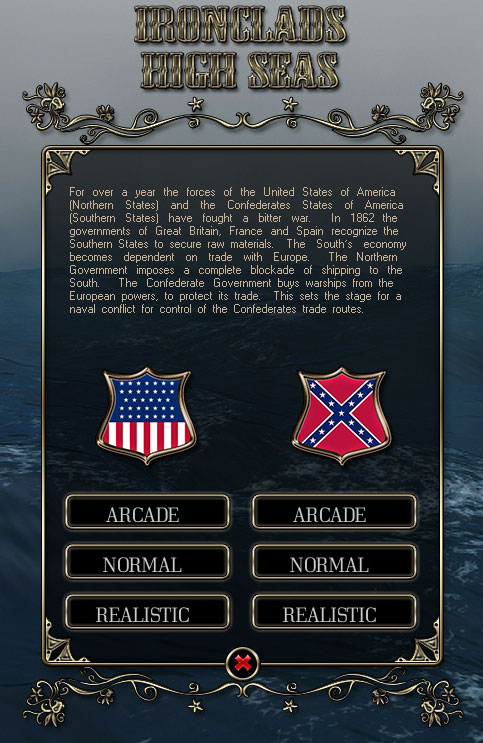 Ironclads - High Seas main menu.