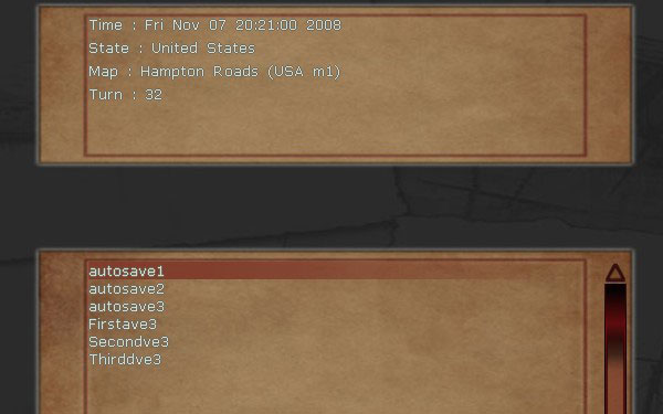 Close-up of the troublesome save game screen