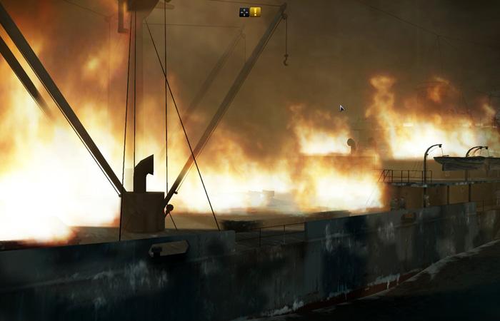 Fire aboard ship in SH5